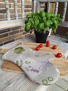 Úžitkový textil - Ľanová kuchynská chňapka Provence - 7196754_