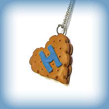 Kľúčenky - Keksík srdce s iniciálom - 7198727_
