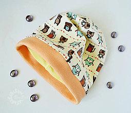 Detské čiapky - Detská čiapka jednostranná so zvieratkami - 7201206_