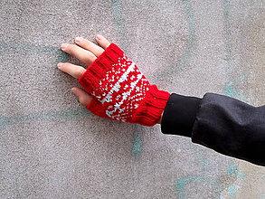 Rukavice - Rukavice s nórskym vzorom v červenej - 7200429_