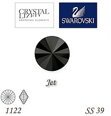 Korálky - SWAROVSKI® ELEMENTS 1122 Rivoli - Jet, SS 39(8mm), bal.1ks - 7201688_