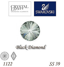 Korálky - SWAROVSKI® ELEMENTS 1122 Rivoli - Black Diamond, SS 39(8mm), bal.1ks - 7201743_