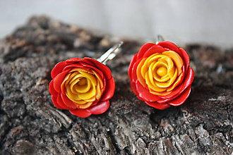 Náušnice - Žlto červené ruže - 7202185_