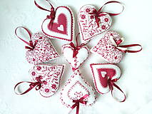Dekorácie - Red folklore hearts - 7206272_
