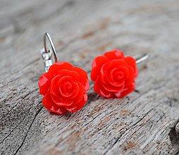 Náušnice - Náušnice Růžičky červené - 7205689_