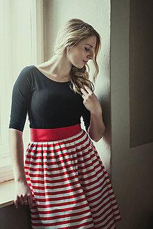 Sukne - Pruhovaná skládaná sukně Swing lady - 7205098_