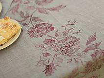 Úžitkový textil - Ruže na ľanovom plátne - ručne potlačený ľanový obrus/behúň - 7205299_