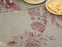 Úžitkový textil - Ruže na ľanovom plátne - ručne potlačený ľanový obrus/behúň - 7205304_