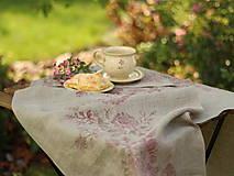 Úžitkový textil - Ruže na ľanovom plátne - ručne potlačený ľanový obrus/behúň - 7205343_