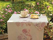 Úžitkový textil - Ruže na ľanovom plátne - ručne potlačený ľanový obrus/behúň - 7205344_