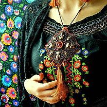 Náhrdelníky - Calaveritas  - Vyšívaný náhrdelník - 7208118_
