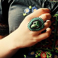 Prstene - Calaveritas - vyšívaný prsten - 7208263_