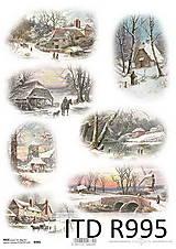 Papier - Ryžový papier Zimná krajinka - 7207809_