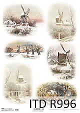 Papier - Ryžový papier Zimná krajinka - 7207825_