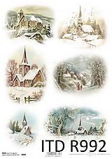 Papier - Ryžový papier Zimná krajinka - 7207842_
