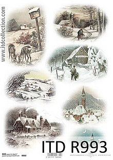 Papier - Ryžový papier Zimná krajinka - 7207835_