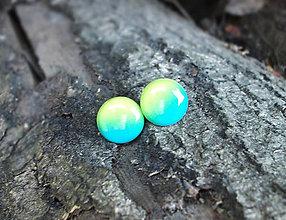 Náušnice - Krúžky 12 mm dúhové (zeleno-žlté) - 7204189_