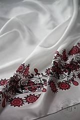 Šatky - hodvábna šatka ZáRIEČIE červené - 7206753_