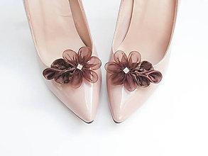 """Obuv - Elegantné """"vuittonky"""" - klipy na topánky hnedé so štrasovým kamienkom - 7207007_"""