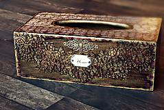 Krabičky - Krabica na vreckovky HOME čipka štýlová 2 - 7207292_