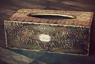 Krabičky - Krabica na vreckovky HOME čipka štýlová 2 - 7207295_