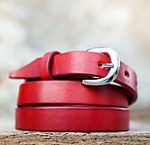 Opasky - Kožený opasok 2cm šírka červenej farby - 7206983_