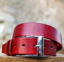 Opasky - Kožený opasok 4cm šírka červenej farby - 7207031_