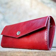 Peňaženky - Kožená dámska peňaženka červená - 7207067_