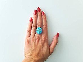 Prstene - Živicový prsteň ovál modrý - 7210074_