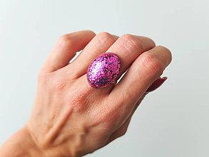 Prstene - Živicový prsteň ovál ružový - 7210102_
