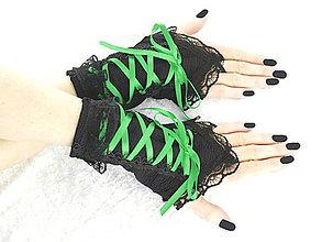 Rukavice - Bezprsté gothic čierno zelené rukavice  0990 - 7212771_