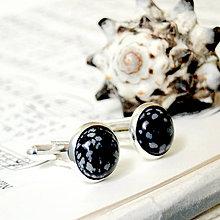 Šperky - Snowflake Obsidian / Manžetové gombíky s vločkovým obsidiánom - 7210601_