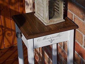 Nábytok - Vysoký stolík so šuflíkom 75 cm - Marseille biely - 7209257_