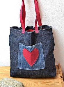Veľké tašky - Veľká riflová taška s červeným srdiečkom - 7211527  021a541b3d7