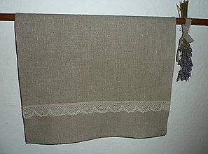 Úžitkový textil - Ľanová utierka Natural s krajkou - 7211469_