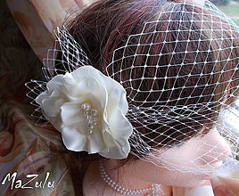 Ozdoby do vlasov - francúzsky závoj v odtieni ivory - 7211742_