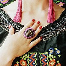Prstene - Calaveritas - vyšívaný prsten - 7208274_