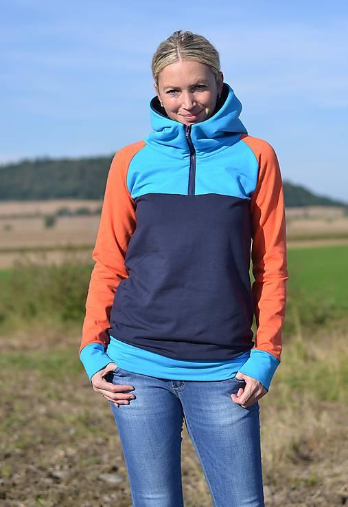 Tříbarevná mikina   Boruvkova - SAShE.sk - Handmade Mikiny e883e87c89c