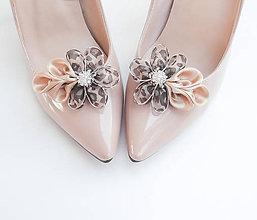 """Obuv - Elegantná """"šelmička"""" - klipy na topánky béžové so štrasovým kamienkom a zvieracím leopardím vzorom - 7211429_"""