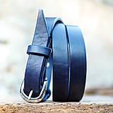 Opasky - Kožený opasok 2cm šírka Navy blue - 7208372_