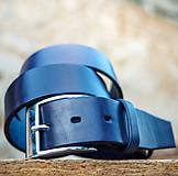 Opasky - Kožený opasok 4cm šírka Navy blue - 7208375_