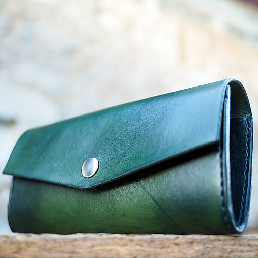 Peňaženky - Kožená dámska peňaženka zelená - 7208346_
