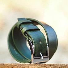 Opasky - Kožený opasok 4cm šírka zelenej farby - 7208342_
