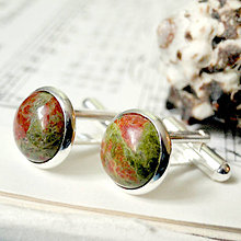 Šperky - Unakite / Manžetové gombíky s unakitom - 7214351_