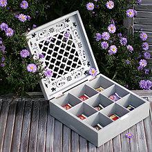 Krabičky - SKRINKA NA ČAJ ORNAMENT I – OLD GREY - 7213986_
