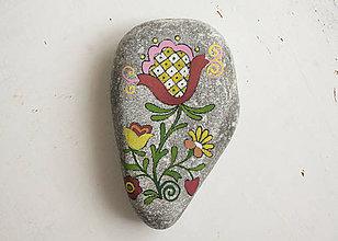 Dekorácie - Prírodný kameň – Folk kvietok 01 - 7214354_