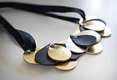 Náhrdelníky - Slzičkový kožený náhrdelník, malý - 7218293_