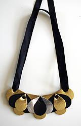 Náhrdelníky - Slzičkový kožený náhrdelník, malý - 7218294_