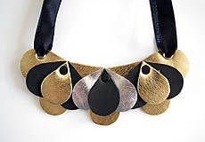 Náhrdelníky - Slzičkový kožený náhrdelník, malý - 7218295_