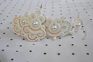 Sady šperkov - Svadobný set náušníc a náramku- ivory a marhuľková - 7218395_